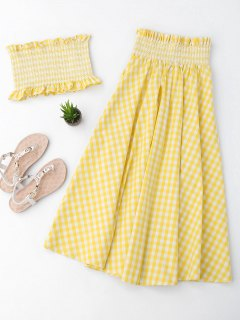 Ruffles Smocked Tube Top And Checked A-Line Maxi Skirt - Yellow M
