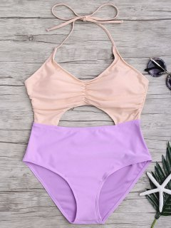 Ruched Color Block Cutout One Piece Swimsuit - Pink And Purple S