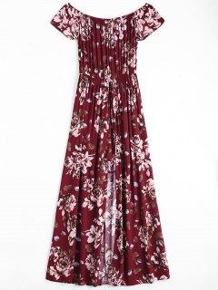 فستان طباعة الأزهار بلا اكتاف غير متماثل - نبيذ أحمر Xl