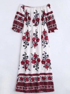 الشيفون الأزهار طباعة قبالة الكتف اللباس - الأزهار M