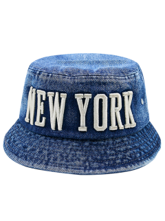 Denim Letters Embroidery Flat Top Bucket Hat - Deep Blue
