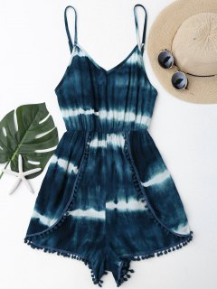 Cami Tie-Dyed Pom Dolphin Cover Up Romper - Malachite Green M