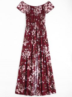 Floral Print Off The Shoulder Asymmetric Dress - Wine Red S