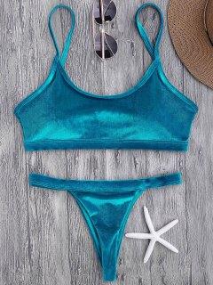V String Thong Bralette Bikini Set - Peacock Blue S