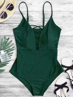 تشكيل يتقاطع يغرق واحد قطعة ملابس السباحة - أخضر L