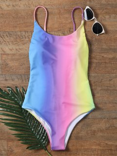 Colorful Backless One Piece Ombre Swimwear - 2xl