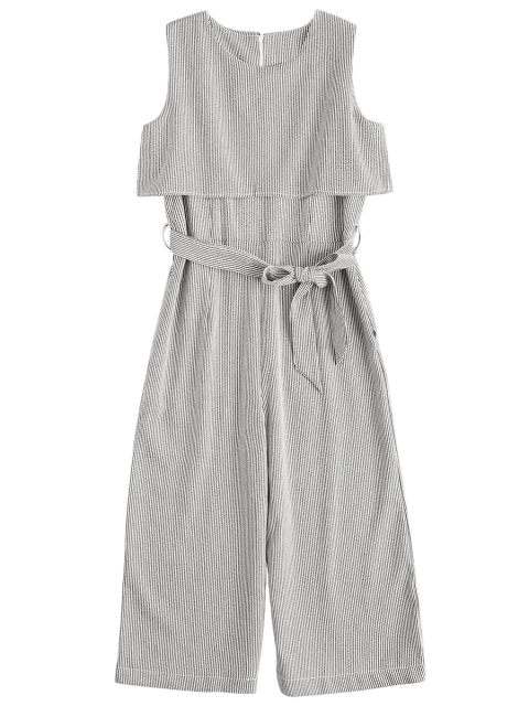 latest Sleeveless Overlay Belted Striped Jumpsuit - STRIPE L Mobile