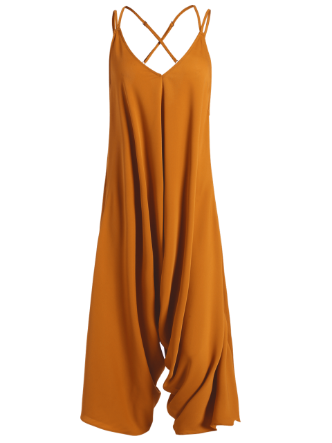 online Crosscriss Asymmetric Chiffon Jumpsuit - GINGER XL Mobile