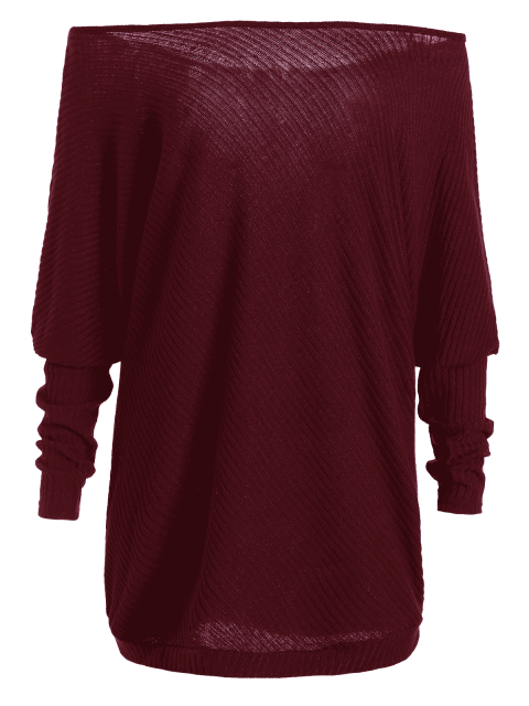 best Asymmetric Neckline Batwing Sweater - WINE RED M Mobile