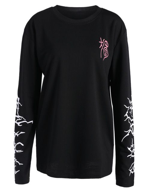 ladies Crew Neck Graphic Sleeve Sweatshirt - BLACK L Mobile