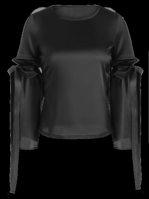 unique Tied Round Neck Cut Out Top - BLACK M Mobile
