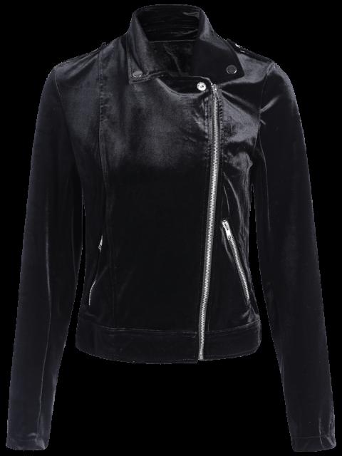 women Multiple Zippers Lapel Collar Jacket - BLACK S Mobile