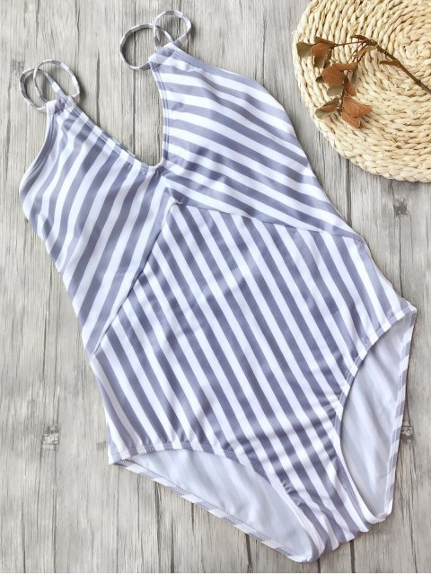 trendy Slimming Striped Strappy One Piece Swimsuit - WHITE AND PURPLE L Mobile