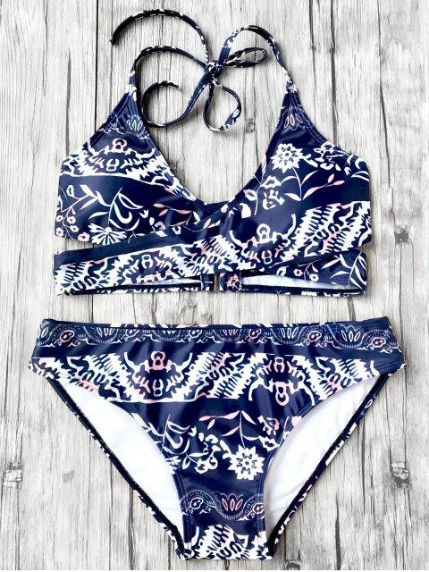 fancy Halter Printed Wrap Bikini Set - BLUE L Mobile