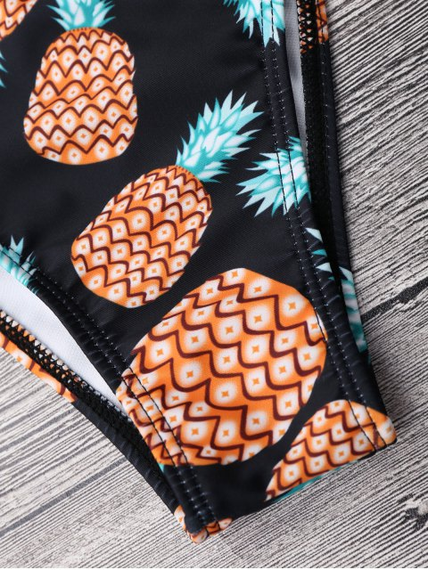 affordable Pineapple Off Shoulder Strappy Banded Bikini - BLACK L Mobile