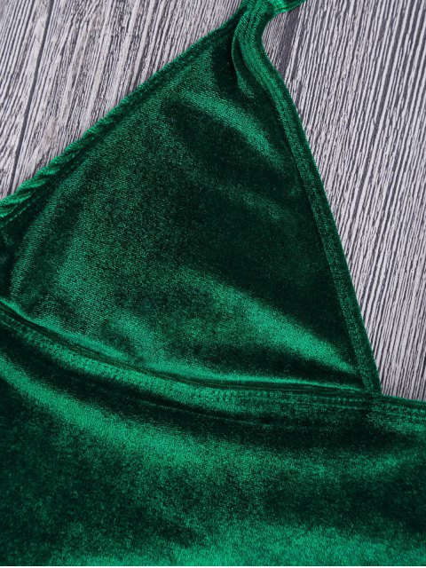 trendy Longline Bikini Top and High Leg Bottoms - GREEN XL Mobile