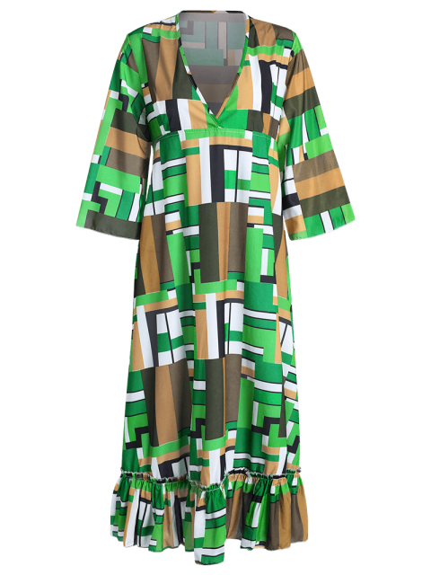 outfit Ruffle Swingy Midi Dress - COLORMIX 2XL Mobile