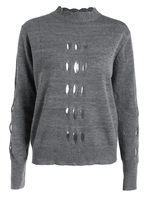 fancy Cut Out Mock Neck Sweater - GRAY L Mobile