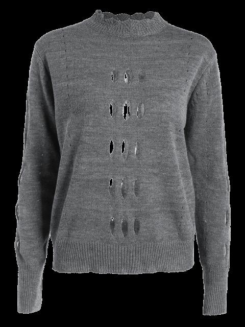unique Cut Out Mock Neck Sweater - GRAY M Mobile