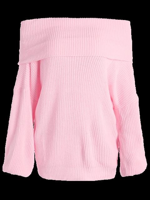 affordable Foldover Off The Shoulder Sweater - PINK S Mobile