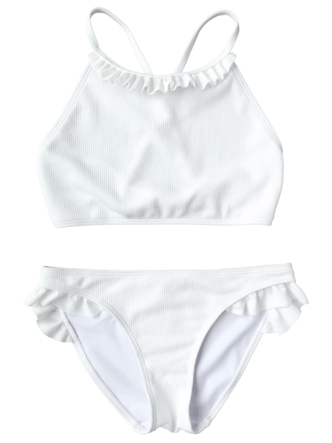 outfit Ruffles Rib Textured Bralette Bikini - WHITE L Mobile