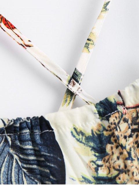 shops Printed Criss Cross Cami Romper - MULTI M Mobile