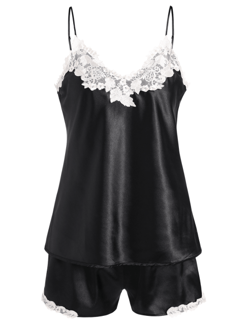 affordable Satin Cami Top and Shorts Sleep Suit - BLACK 2XL Mobile