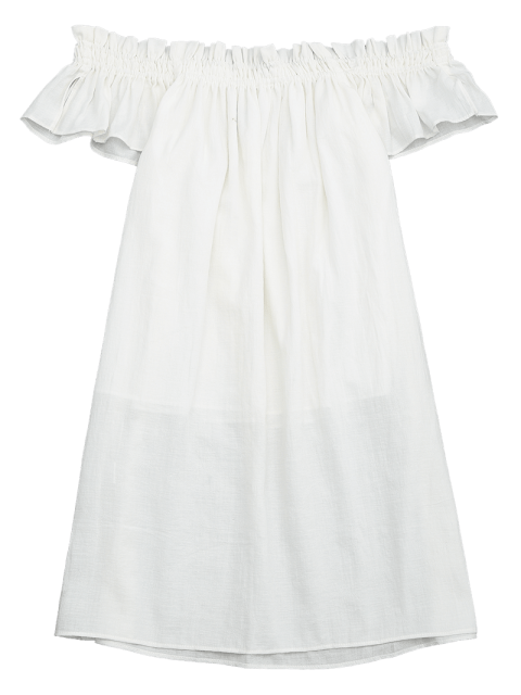 outfit Mini Casual Ruffles Off Shoulder Dress - WHITE S Mobile