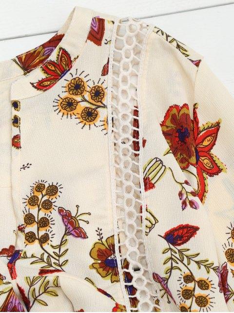 unique Floral High-Low Mini Tunic Dress - BEIGE M Mobile