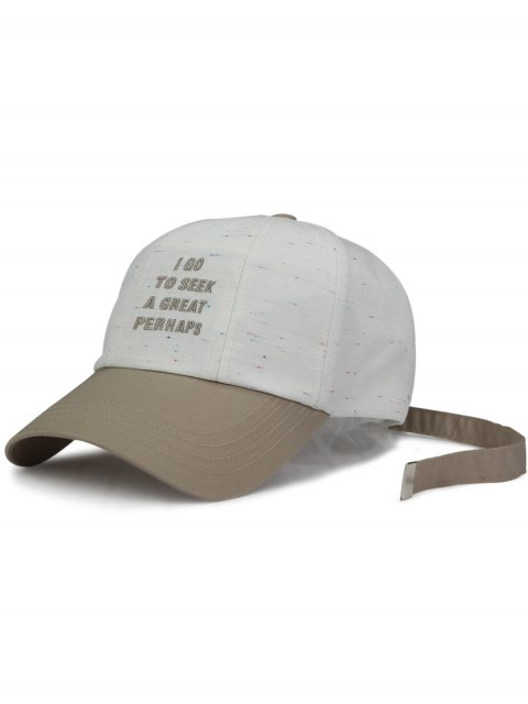 unique Long Tail Letters Embroidery Baseball Hat - WHITE  Mobile