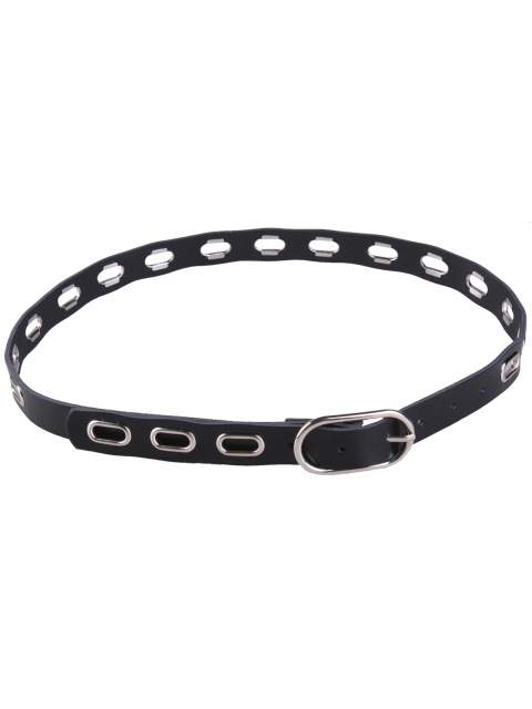 ladies Hollow Out Metal Oval Hole Waist Belt - BLACK  Mobile