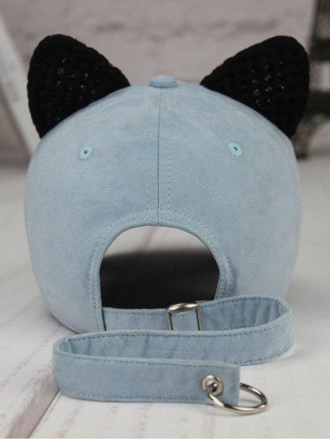 fancy Metal Letter Cat Ear Embellished Long Tail Hat - LIGHT BLUE  Mobile