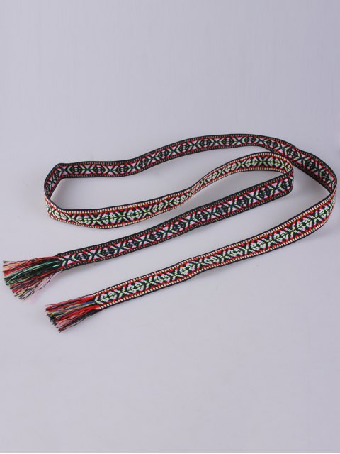 new Ethnic Retro Woven Fringed Waist Strap - BLACK AND RED  Mobile