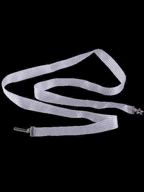 best Metal Pentagram Embellished Ribbon Waist Strap - WHITE  Mobile