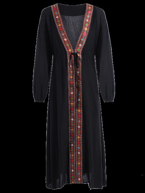 womens Low Cut Belted Printed Vintage Dress - BLACK L Mobile