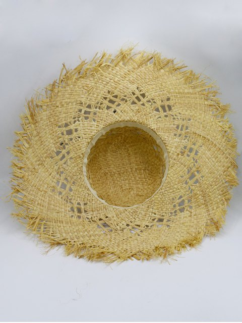 chic Hollow Out Woven Straw Hat - KHAKI  Mobile