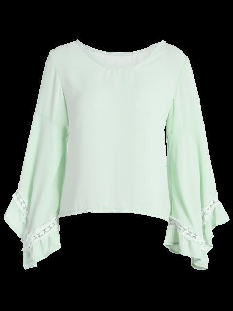 unique Flare Sleeve Chiffon Blouse - LIGHT GREEN L Mobile