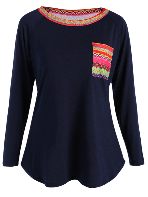 trendy Pocket Round Neck Printed Tunic T-Shirt - CADETBLUE XL Mobile
