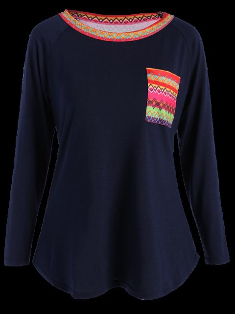 fashion Pocket Round Neck Printed Tunic T-Shirt - CADETBLUE L Mobile