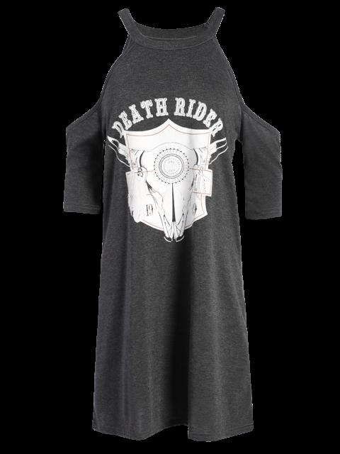 sale Cold Shoulder Graphic T-Shirt Dress - DEEP GRAY L Mobile