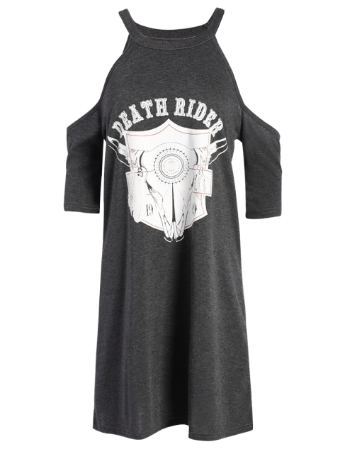 buy Cold Shoulder Graphic T-Shirt Dress - DEEP GRAY S Mobile