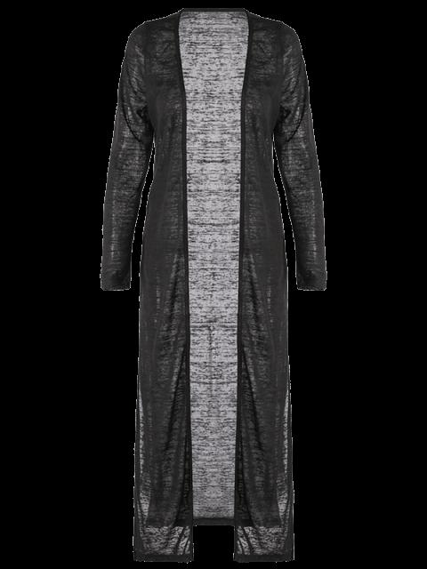 buy Open Stitch Side Slit Duster Cardigan - BLACK M Mobile
