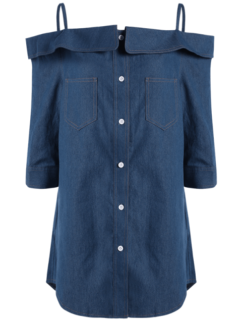 outfits Button Up Off The Shoulder Denim Dress - BLUE XL Mobile