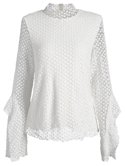ladies Bell Sleeve Hollow Out Blouse - WHITE M Mobile