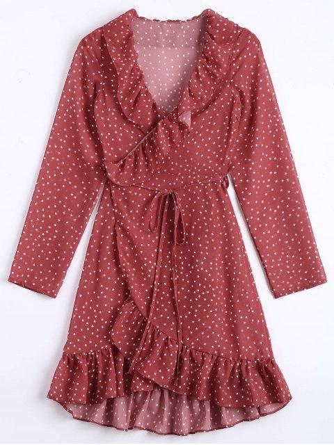 affordable Star Print Ruffle Hem Wrap Dress - DARK RED S Mobile