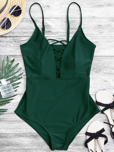 Zaful Shaping Crisscross Plunge One Piece Swimsuit