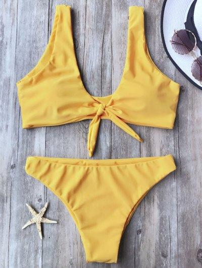 Top Et Bas De Bikini à Col Roulé Noué - Jaune M