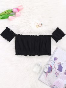Off Shoulder Rib Textured Ruffled Crop Top - Black
