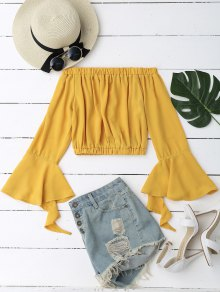 Bell Sleeve Off Shoulder Cropped Blouse