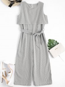 Sleeveless Overlay Belted Striped Jumpsuit